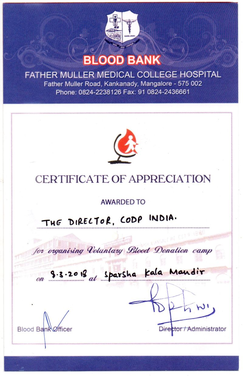 <b>CODP awarded with a �Certificate of Appreciation�</b>